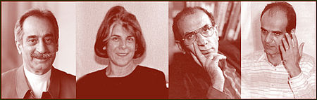 از راست به چپ: محمد جعفر پوینده، محمد مختاری، پروانه فروهر، داریوش فروهر