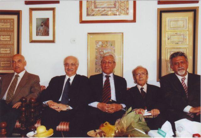 نوروز 1394 از راست به چپ: پروفسور امین، ادیب برومند،دکتر فرشاد، دکتر موسویان،دکتر باوند