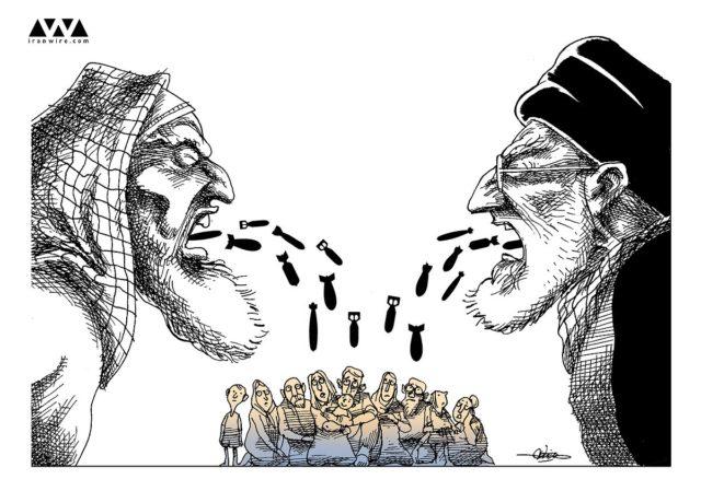 علی خامنه ای ماموران سعودی را «قسیالقلب و جنایتکار» توصیف کرد- کاریکاتور از ایران وایر